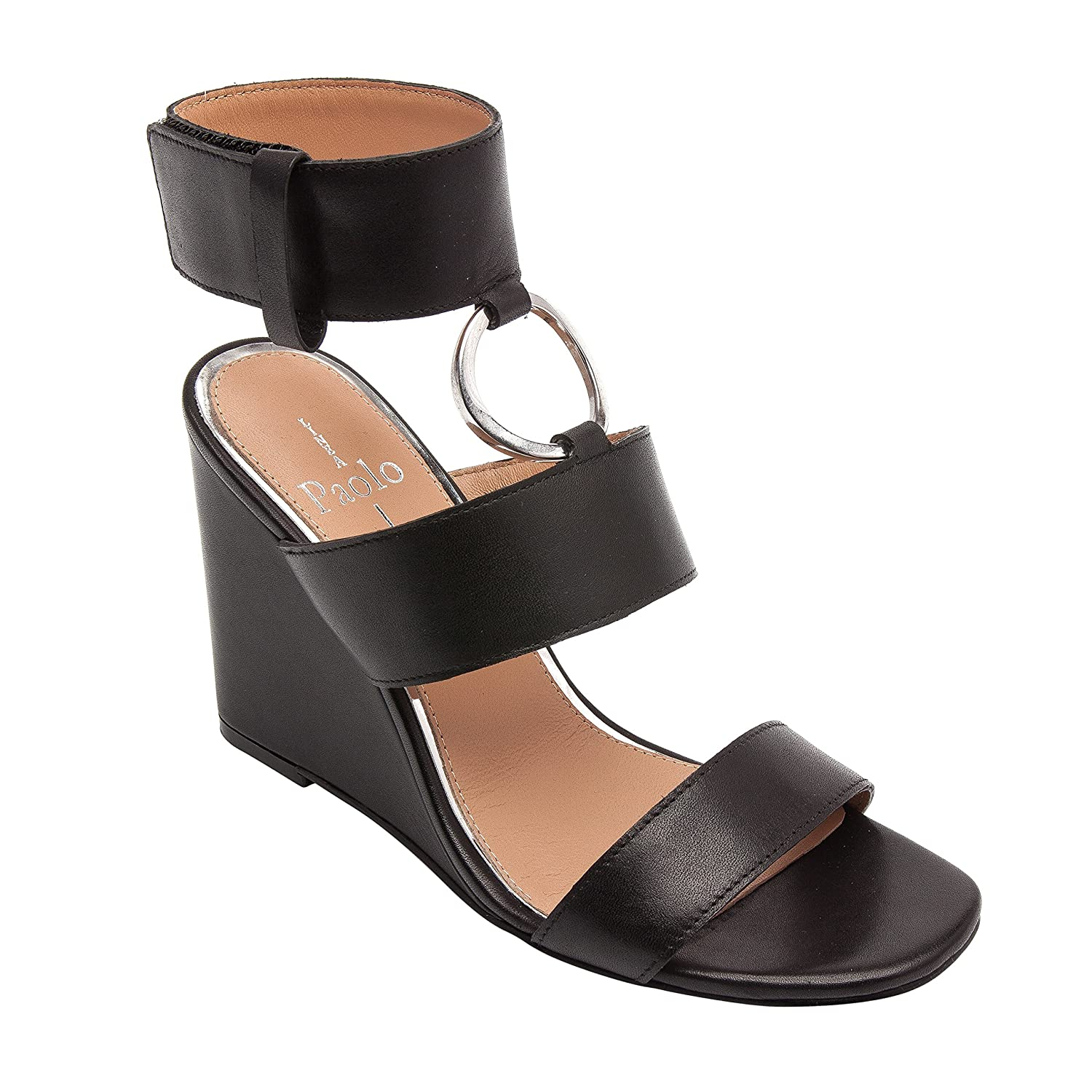 Linea Paolo EVA | Women's Metal Ring Adorned Cuffed Comfortable Wedge Sandal B079586DXM 9 M US|Black Leather