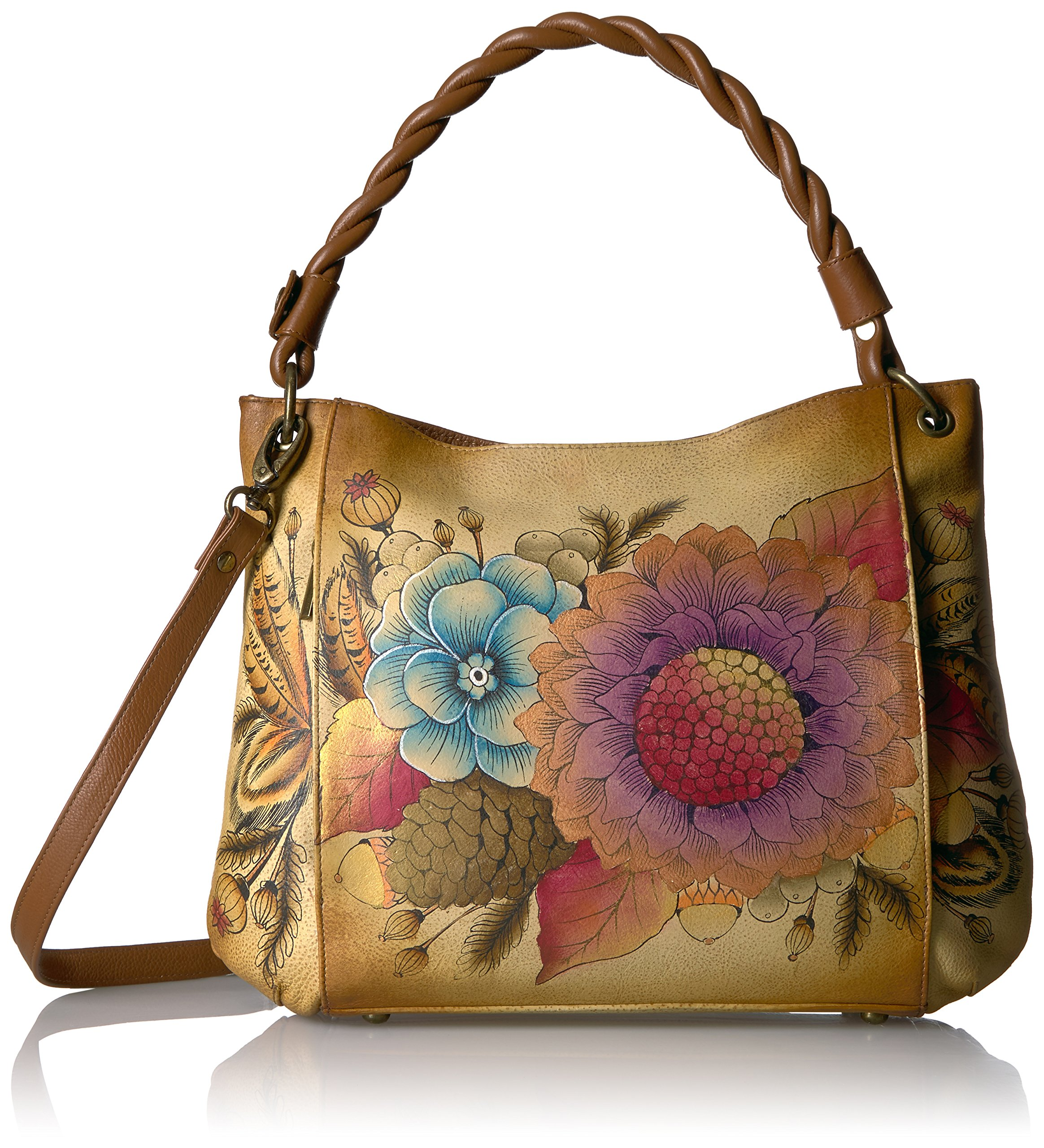 Anna by Anuschka Handpainted Leather Women's Bag, Rustic Bouquet