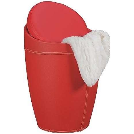 AMSTYLE Wäschebehälter LUCY Wäschekorb Farbe Rot Hocker mit Funktion  Badhocker gepolstert mit Stauraum Bezug Kunstleder Sitzhocker 100 kg  Lederhocker ...