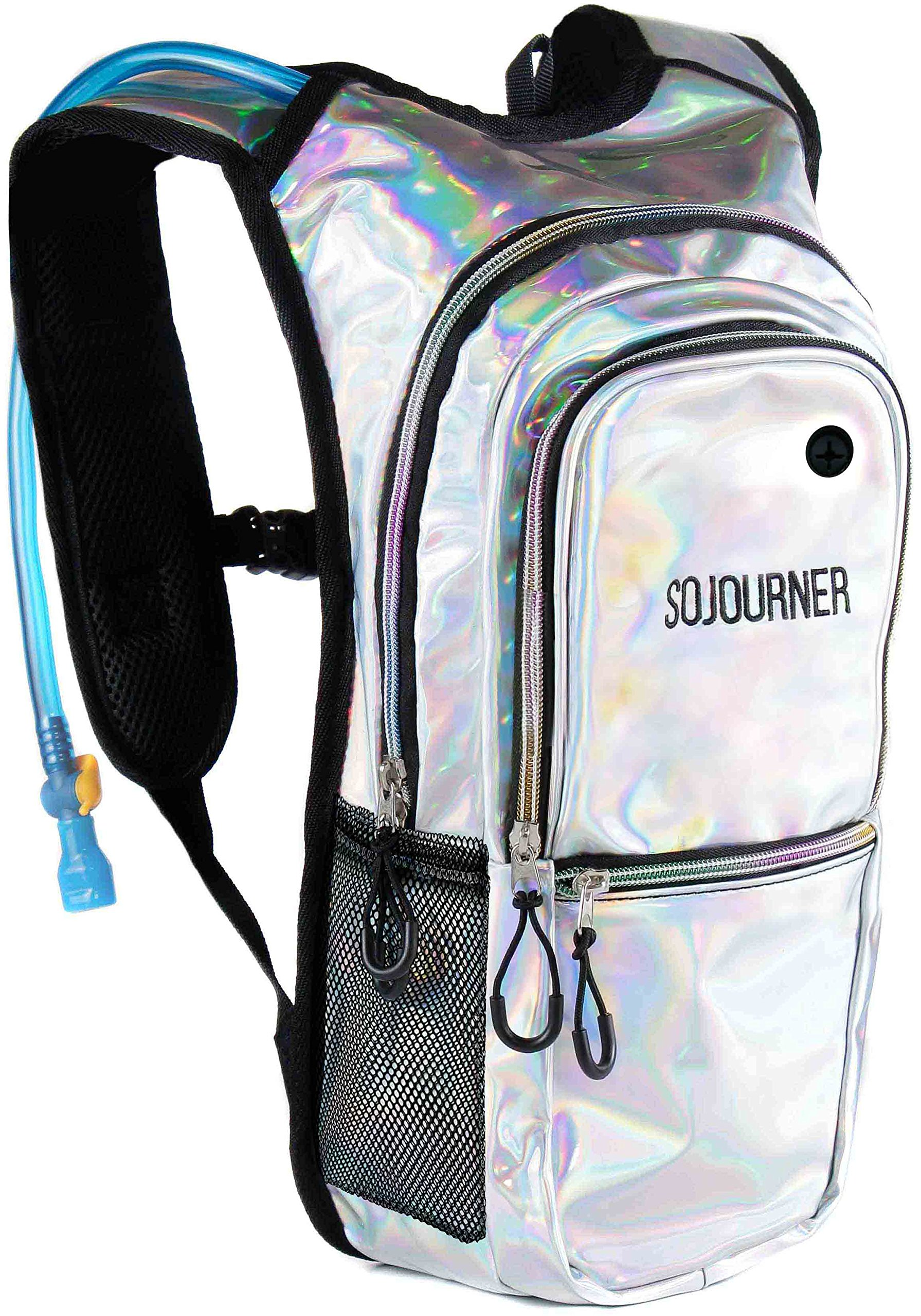 Sojourner Rave Hydration Pack Backpack - 2L Water Bladder Included for Festivals, Raves, Hiking, Biking, Climbing, Running and More (Multiple Styles) (Holographic - Silver)