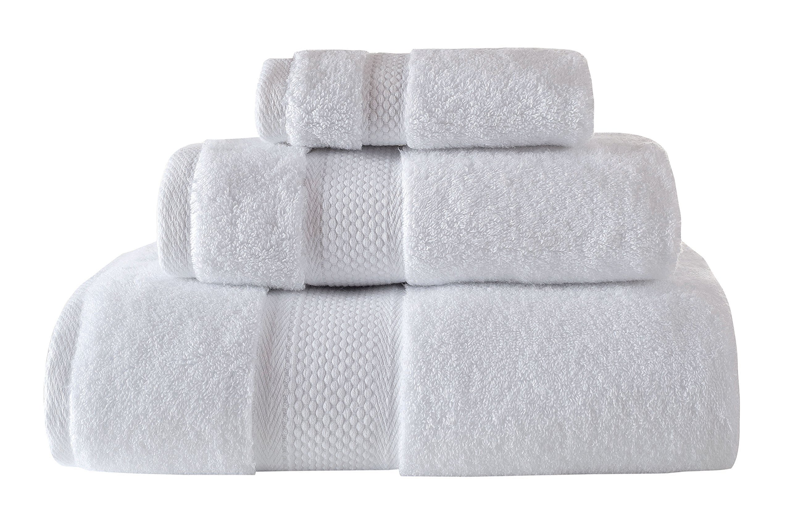 Bagno Milano Luxury Hotel & Spa Collection 700 GSM Towel Set, Aqua Fibro Finest Turkish Cotton, Set of 3 Towel Bundle, White