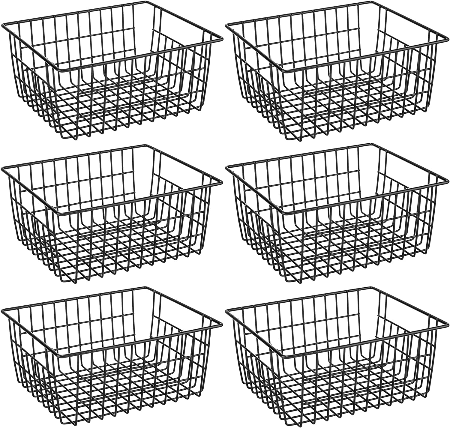 Freezer Refrigerator Wire Storage Baskets, iPEGTOP 6 Pack Metal Baskets Food Storage Organizer Bin with Built-in Handles for Freezer Pantry, Shelf, Freezer, Kitchen, Cabinet, Bathroom, Black
