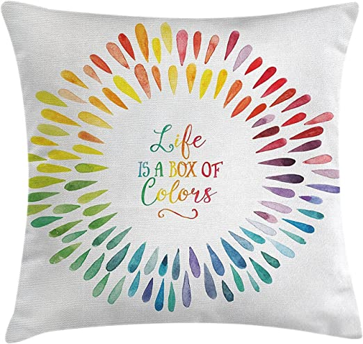 Moderna funda de cojín decorativa, la vida es una caja de colores ...