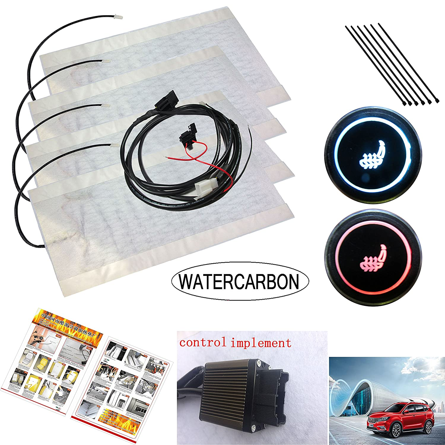 Health Care and Health Care Carbon Fiber Winter Car Heated Seat Cushion Cover Round 3 Gear 4 Color Heating Switch 12V Heating Heater Warmer Pad Auto Parts Installation WATERCARBON WATERCARBON 10-126