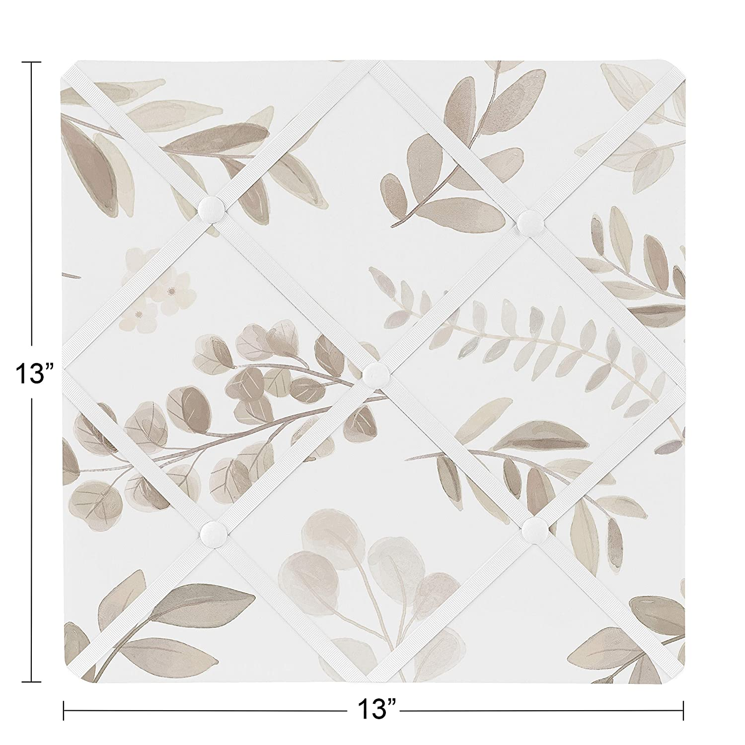 Ivory Cream Beige Taupe and White Gender Neutral Boho Watercolor Botanical Flower Woodland Tropical Garden Sweet Jojo Designs Floral Leaf Fabric Memory Memo Photo Bulletin Board