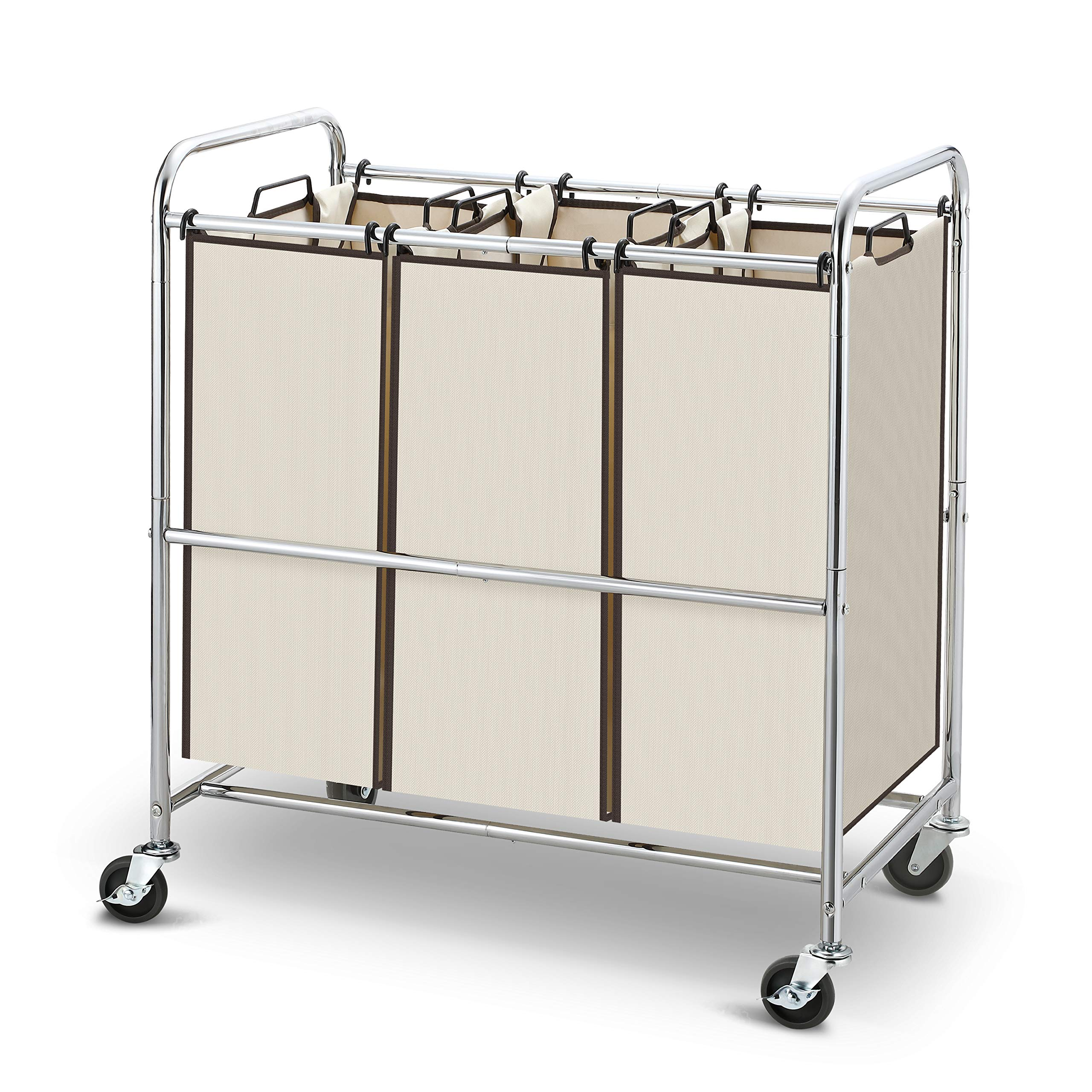 Simple Trending Heavy Duty 3-Bag Laundry Hamper Sorter Cart with Rolling Wheels, Chrome by Simple Trending
