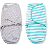 SwaddleMe Original Swaddle (Small, Grey Anchor and Teal Stripe, Pack of 2)