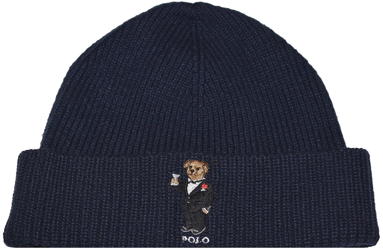 Polo Ralph Lauren Mens Polo Bear Knit Fashion Winter Hat (Hunter Navy  Blue Tuxedo 729b25665f5