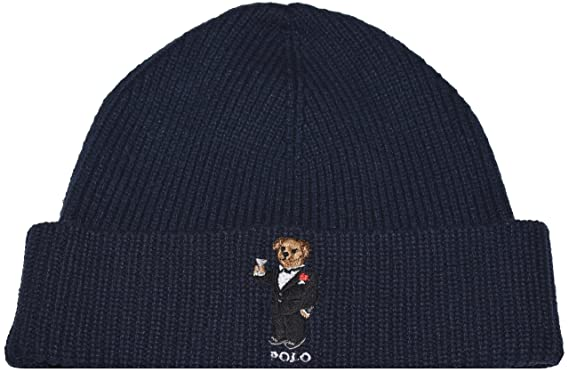 Polo Ralph Lauren Mens Polo Bear Knit Fashion Winter Hat (Hunter Navy  Blue Tuxedo c833fdb2499