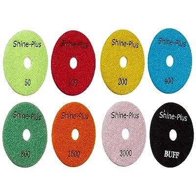 Toolocity DPP4SETB 4-Inch Shine-Plus Honeycomb Dry Diamond Polishing Pad with Black Buff, Set of 8: Home Improvement