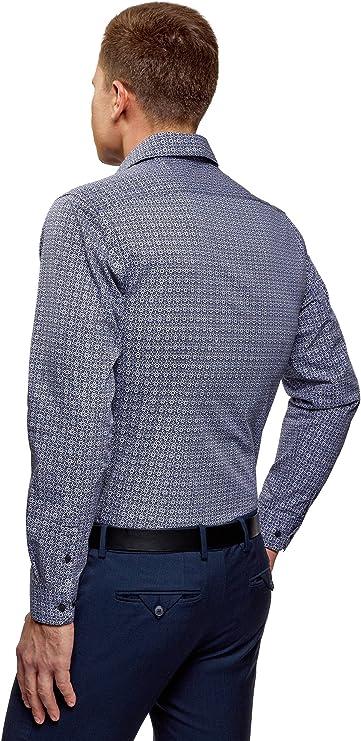 oodji Ultra Hombre Camisa Entallada con Estampado