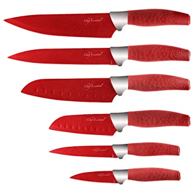 Chef Essential 6 Piece Knife Set With Matching Sheaths, Red
