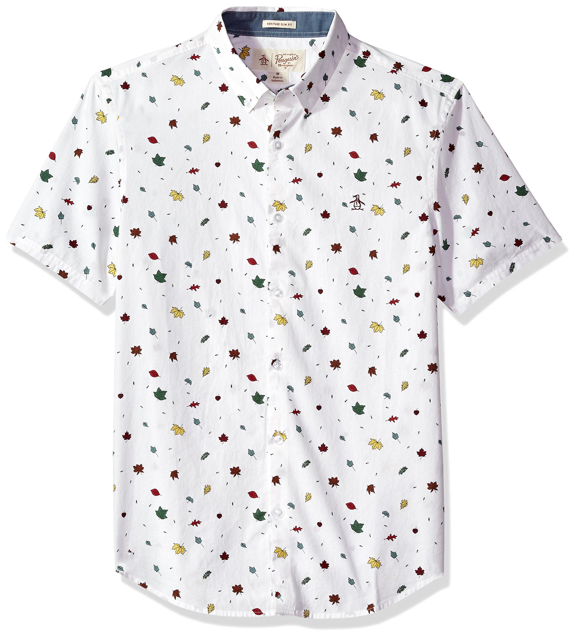 Original Penguin Men's Falling Leaves Shirt, Bright White, Small
