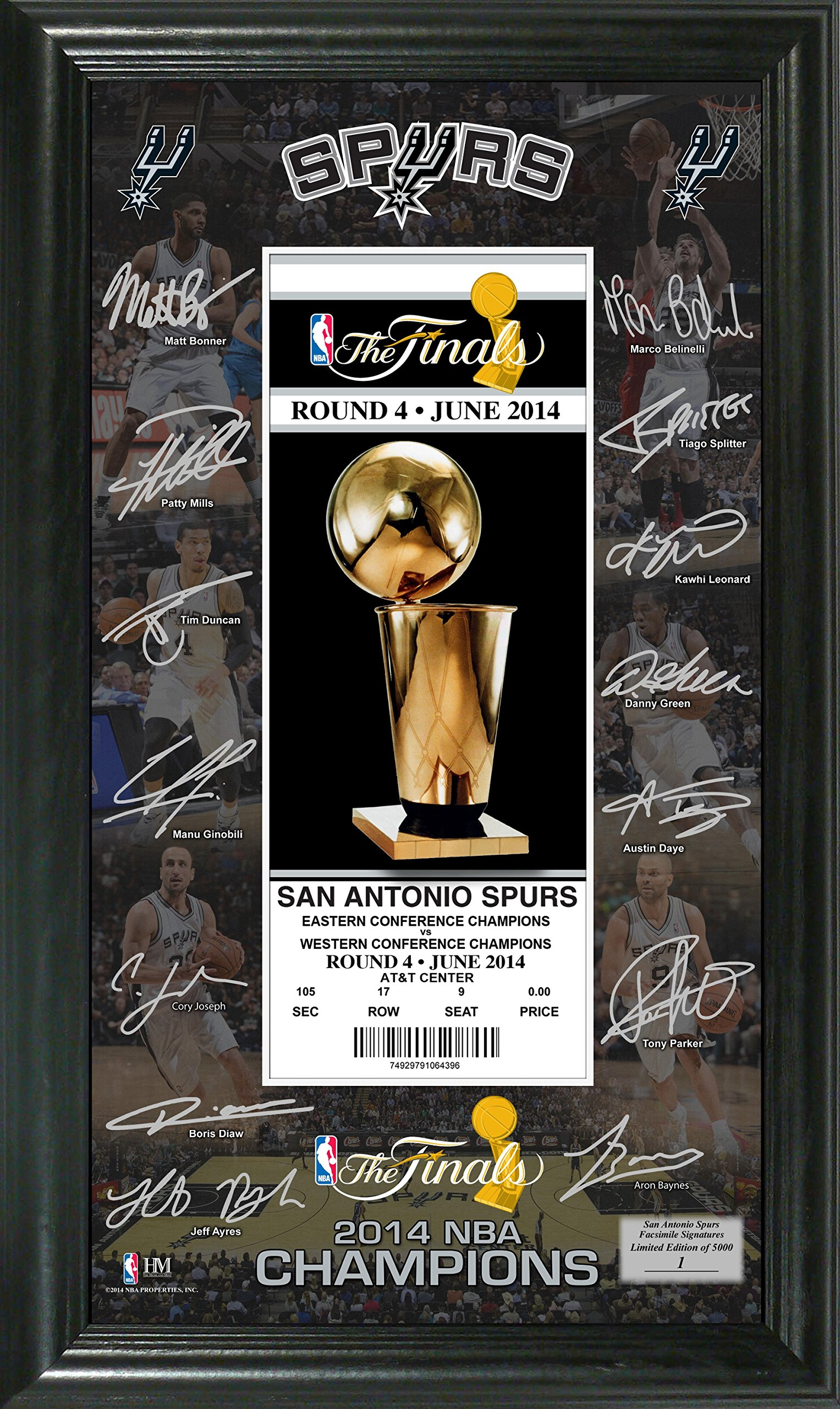 NBA San Antonio Spurs 2014 Champs Signature Ticket, Black, 22'' x 15'' x 4''