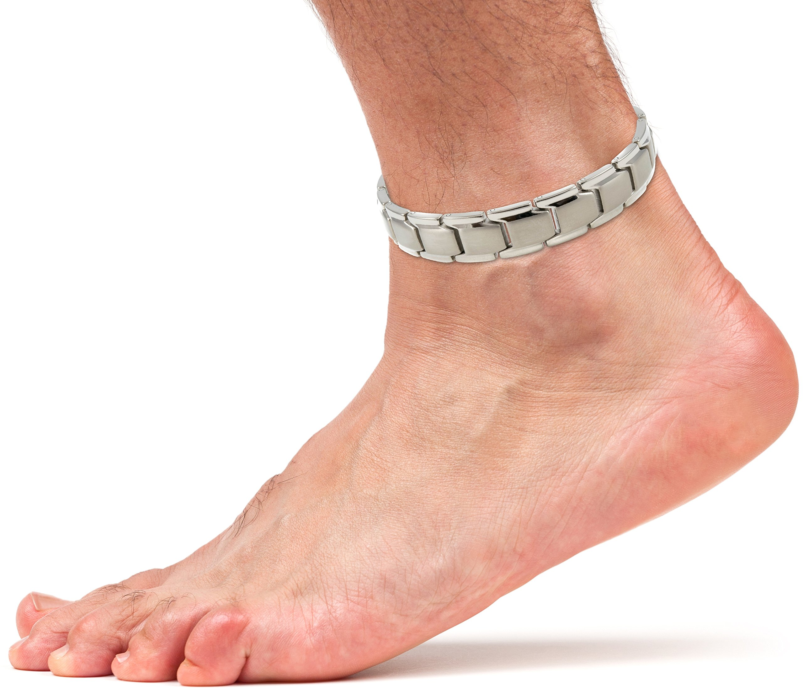 Elegant Titanium Magnetic Therapy Anklet For Men and Women Arthritis Pain Relief & Inflammation Reduction For Feet And Ankles (Silver)