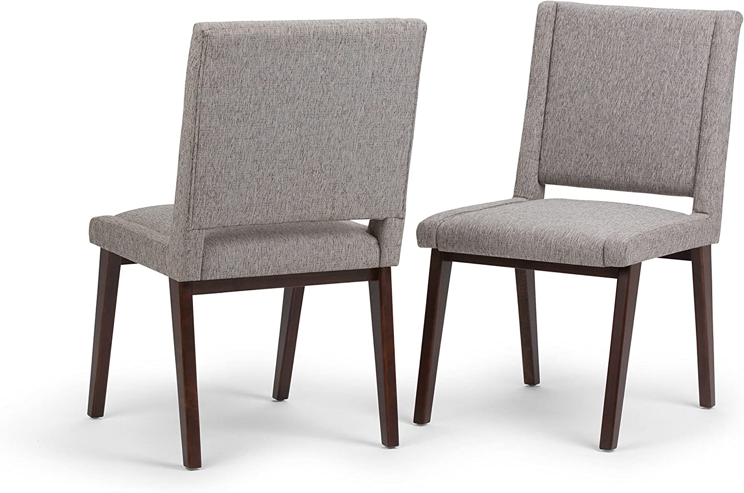 Simpli Home Draper Mid Century Modern Deluxe Dining Chair (Set of 2) in Grey Linen Look Fabric, Fully Assembled