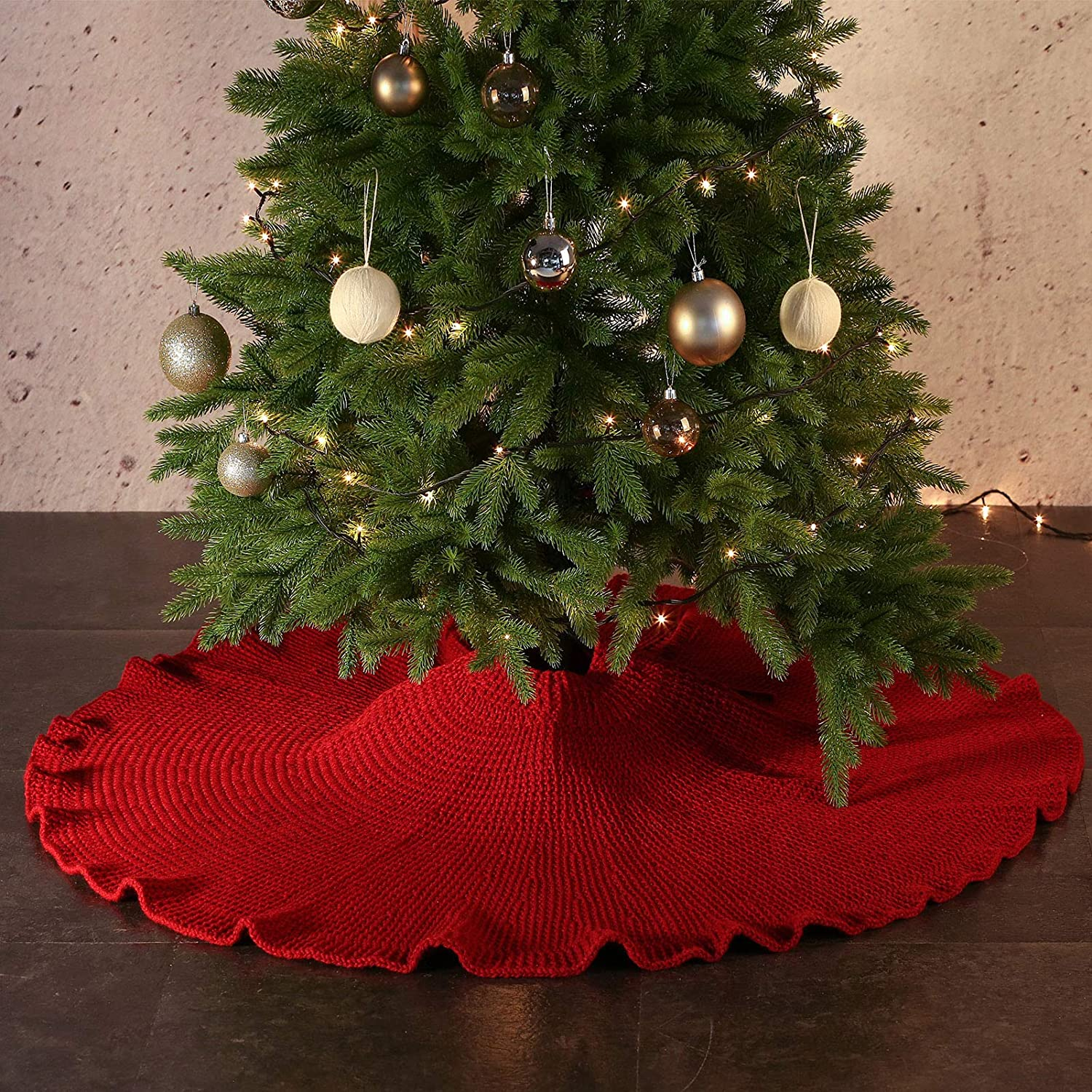 AOFEITE Ruffled Christmas Tree Skirt 48 inches Large, Christmas Tree Decoration 6 to 8ft Tall Trees Suitable, Farmhouse Rustic Festive Xmas Holiday Décor Red