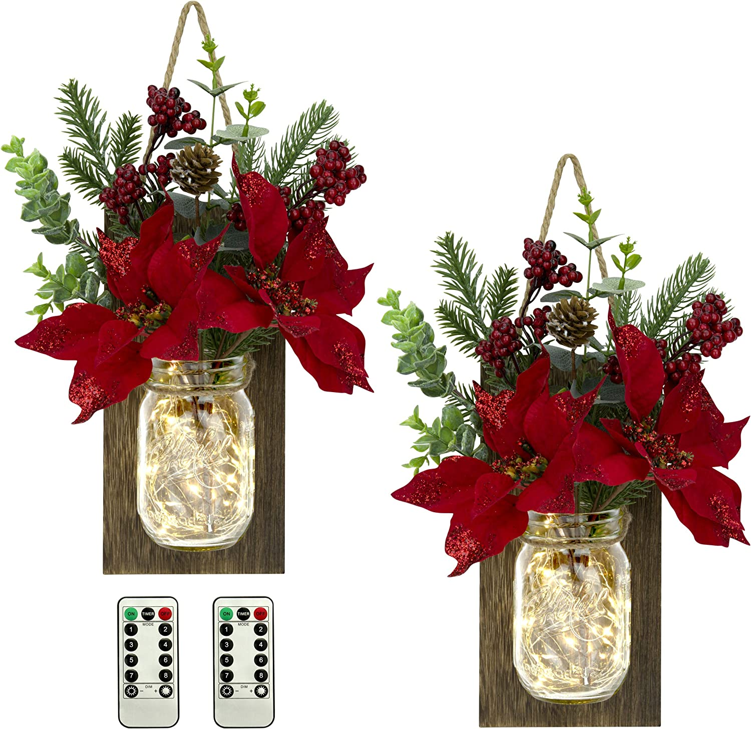 TenXVI Designs Remote Controlled Hanging Mason Jar Sconces - 2 Sets - Poinsettia Flowers, LED Fairy Lights - Rustic Farmhouse Wall Decor and Mason Jar Wall Decor and Christmas Decorations