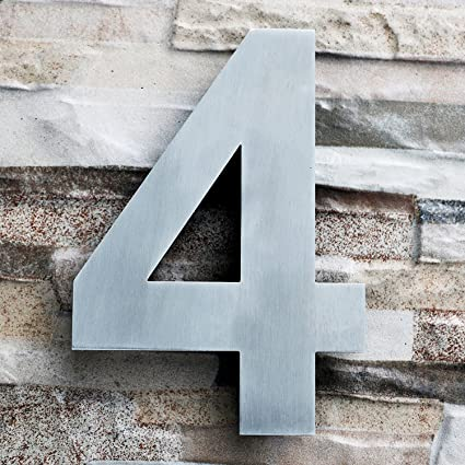 Qt modern house number large 8 inch brushed stainless steel number 4 four