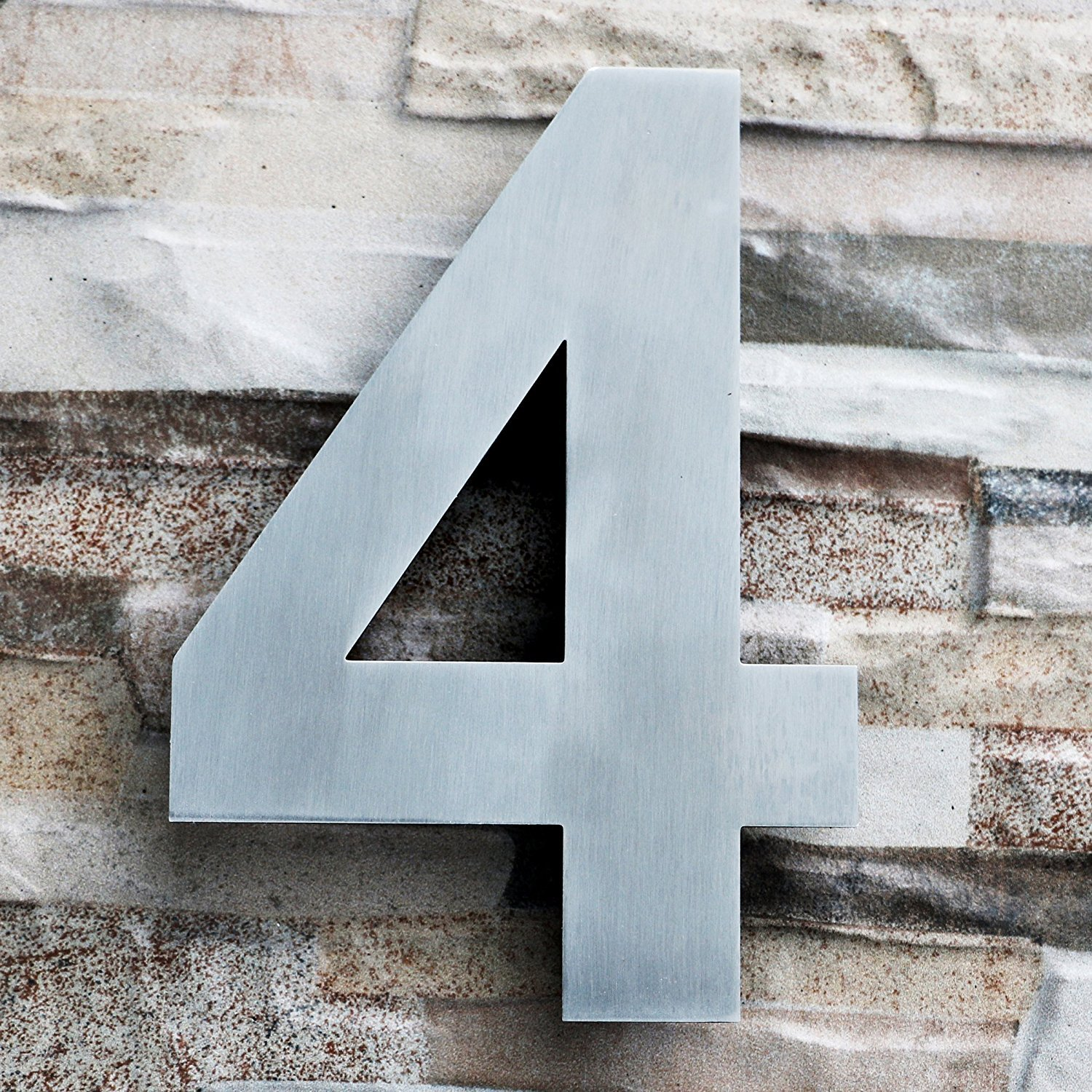QT Modern House Number - LARGE 8 Inch - Brushed Stainless Steel (Number 4 Four), Floating Appearance, Easy to install and made of solid 304