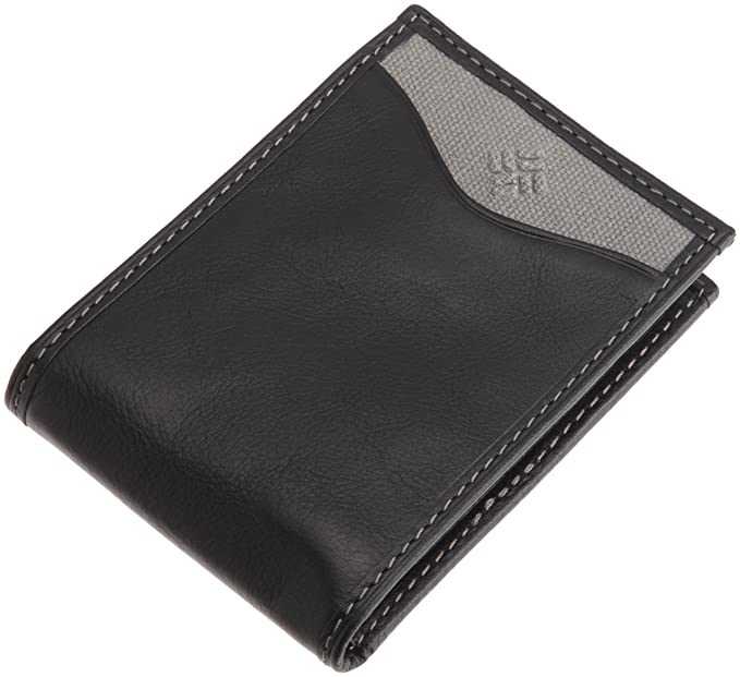 Columbia Mens Leather Slim Front Pocket Wallet with ID Window,Black Logo