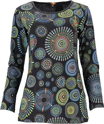 GURU SHOP Camiseta de manga larga bordada Hippie Chic Mandala para mujer, algodón, jersey, manga larga y sudadera, alternativa ropa Negro L - XL