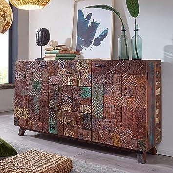 Wohnling Sideboard Carved 160x90x40 Cm Massivholz Vintage Anrichte