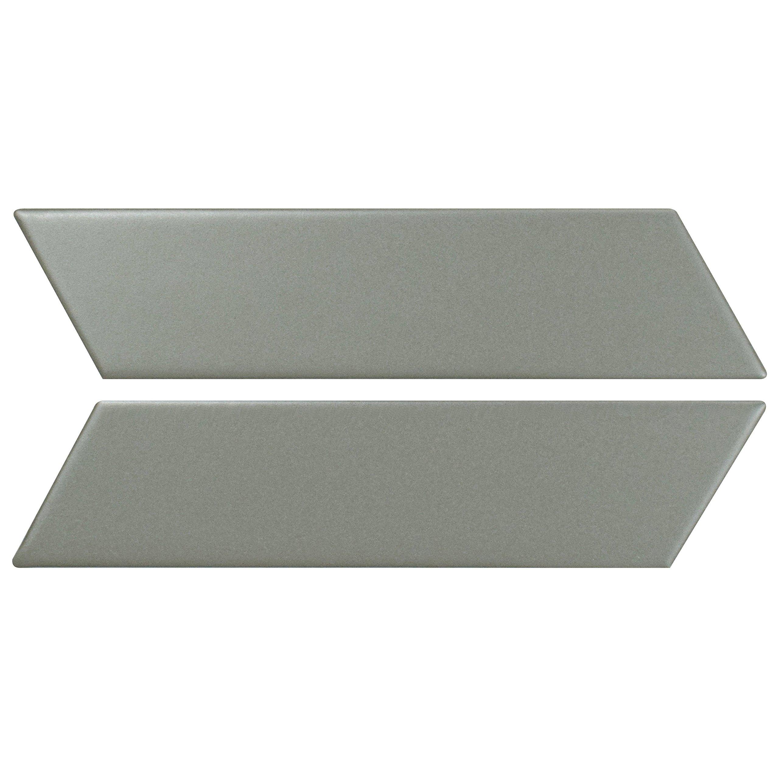 SomerTile Fmtshcml Retro Soho Chevron Porcelain Floor and Wall Tile, 1.75'' x 7'', Matte Light Grey