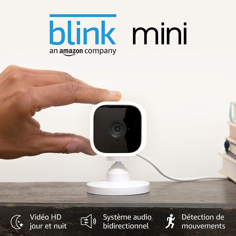 Blink Mini, Caméra de surveillance d'intérieur connectée, compacte, qui se branche sur...