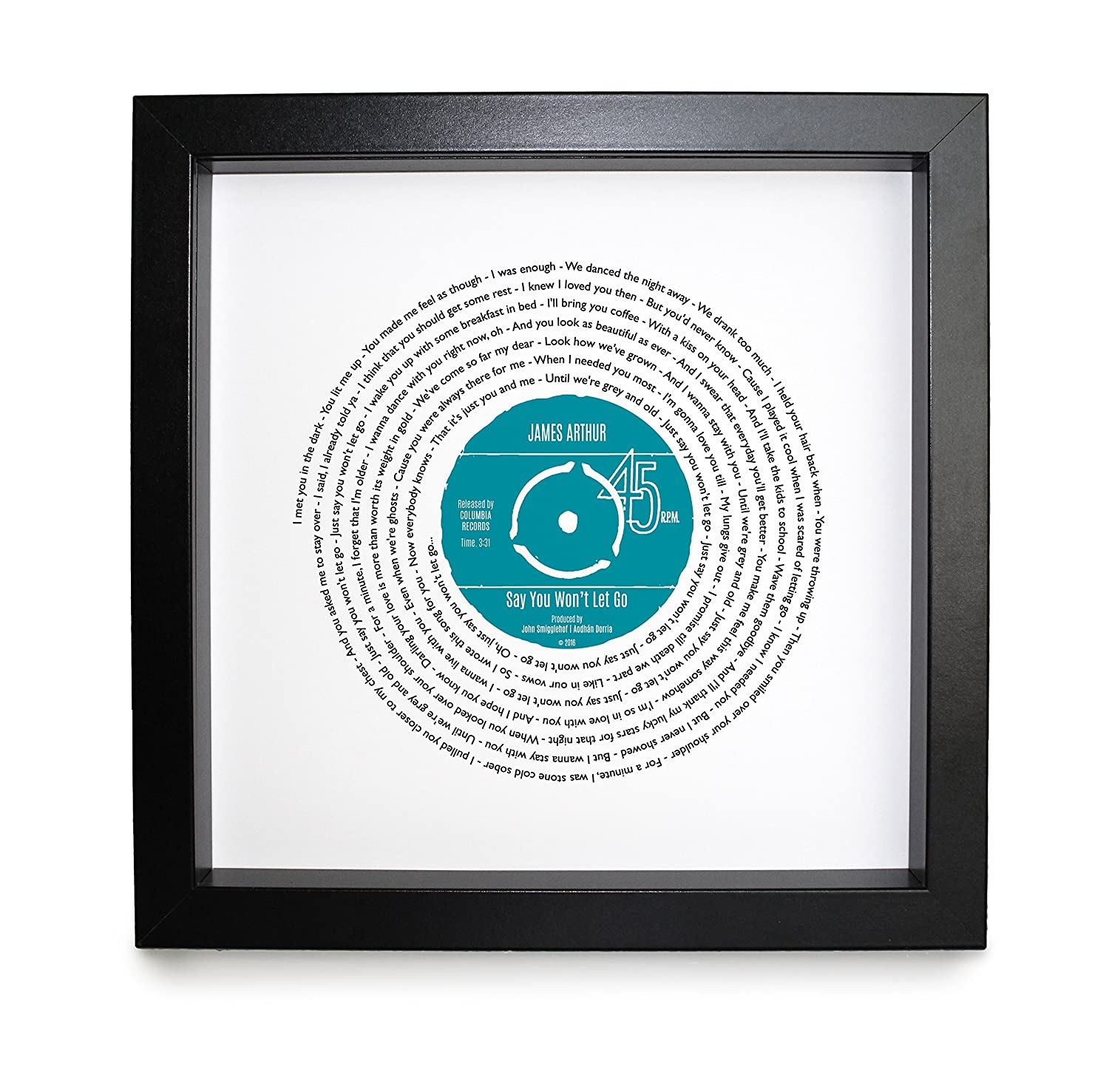 James Arthur, Say You Won't Let Go, Vinyl Record Print | PERSONALISED SONG  | Vinyl Record Song Words Print | 23 x 23 cm Boxed Frame