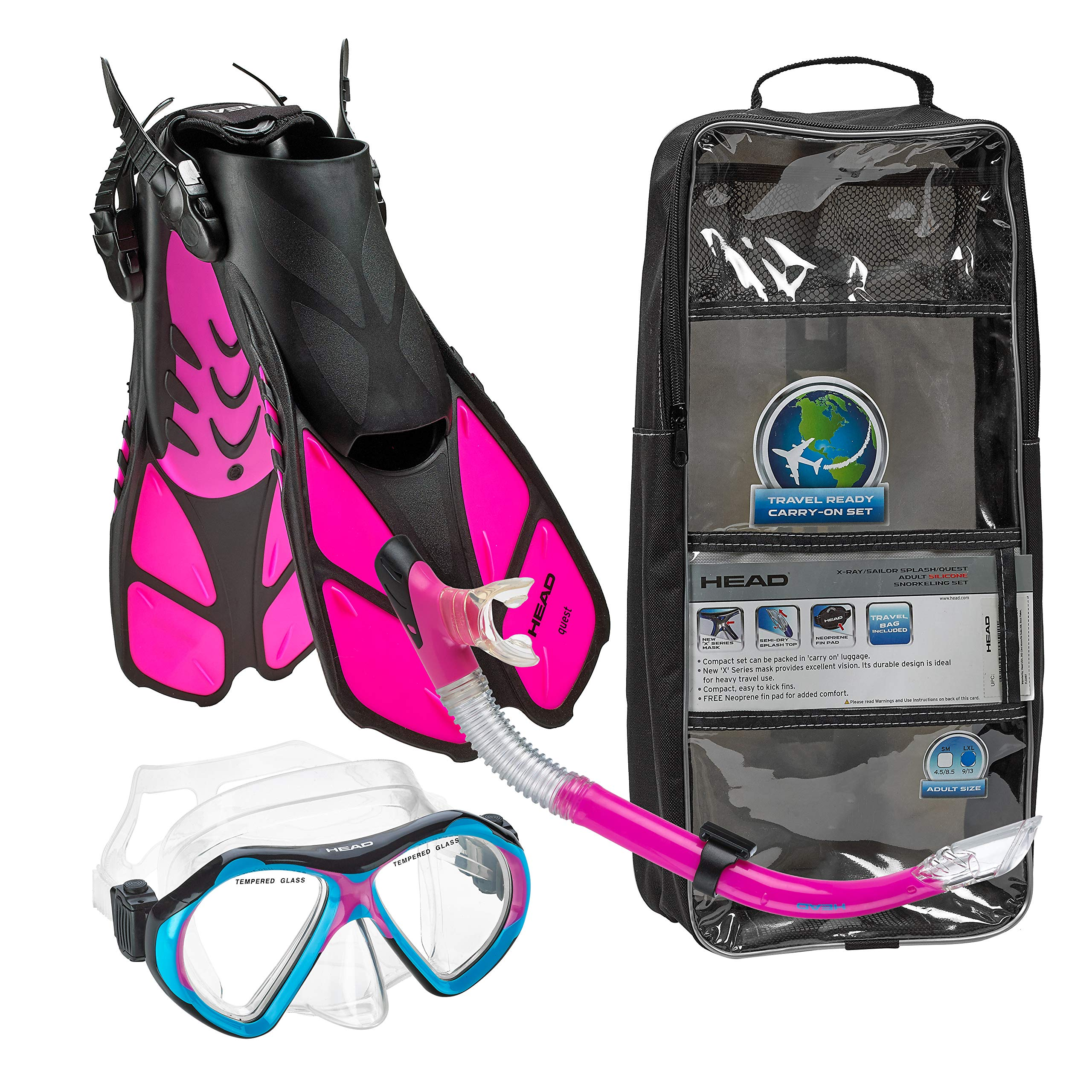 HEAD Italian Collection Sailor Splash Quest Superior Mask Fin Snorkel Set with Snorkeling Gear Bag, Pink - S/M by HEAD