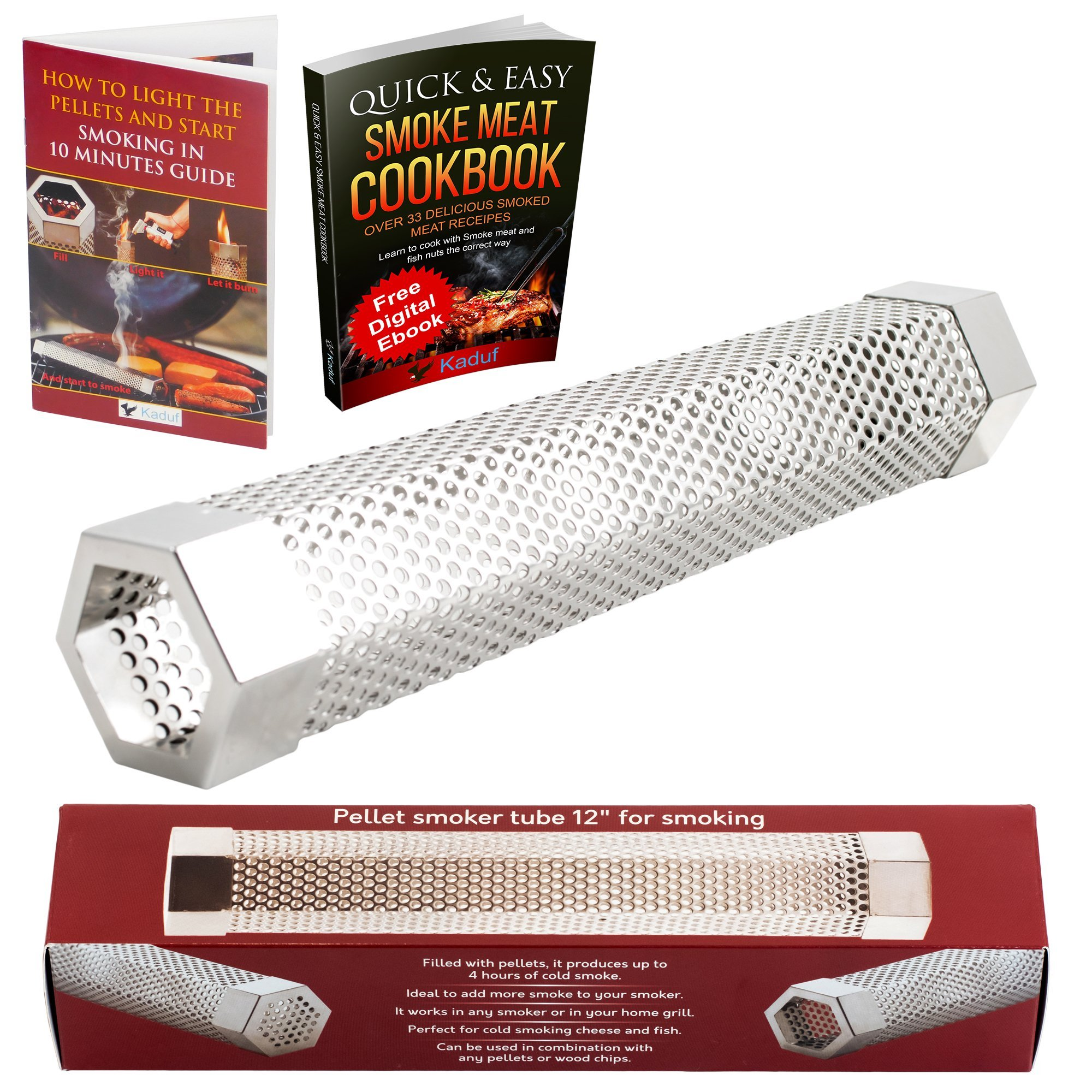 "Kaduf Pellet Smoker Tube 12"" - Up to 5 Hours Smoking - Add to Your Grill or Smoker For Extra Smoke Flavor - Cold & Hot Smoking - Works With Pellets and Wood Chips - Hexagonal"