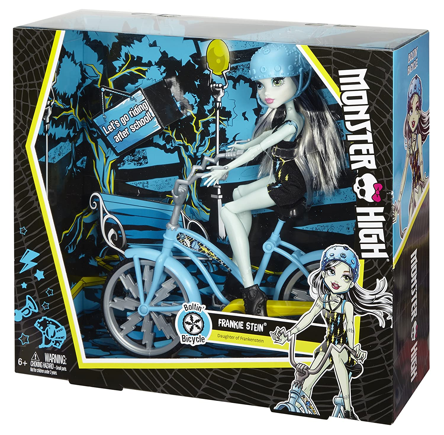 amazon com monster high boltin u0027 bicycle frankie stein doll