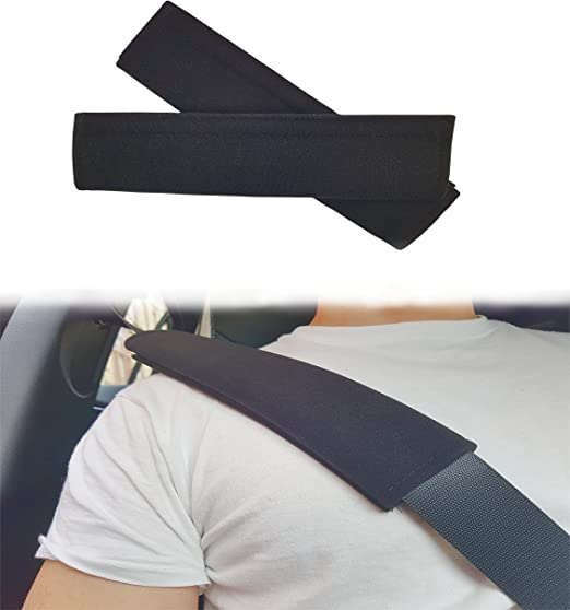 Almohadilla acolchada Asarah para cinturón de seguridad, con cierre de velcro, color negro, 2 unidades: Amazon.es: Coche y moto
