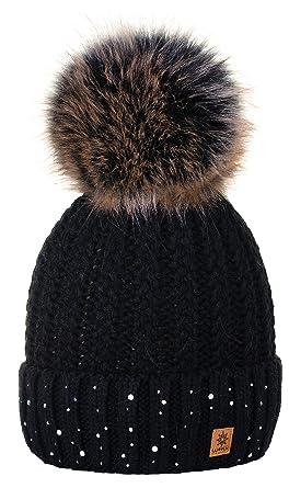 f53c060276b0 4sold Lady Bonnets Bonnet Fourré Hiver pour Femme Bonnet Tricoté et Gros  Pompon Coloris Taille Unique
