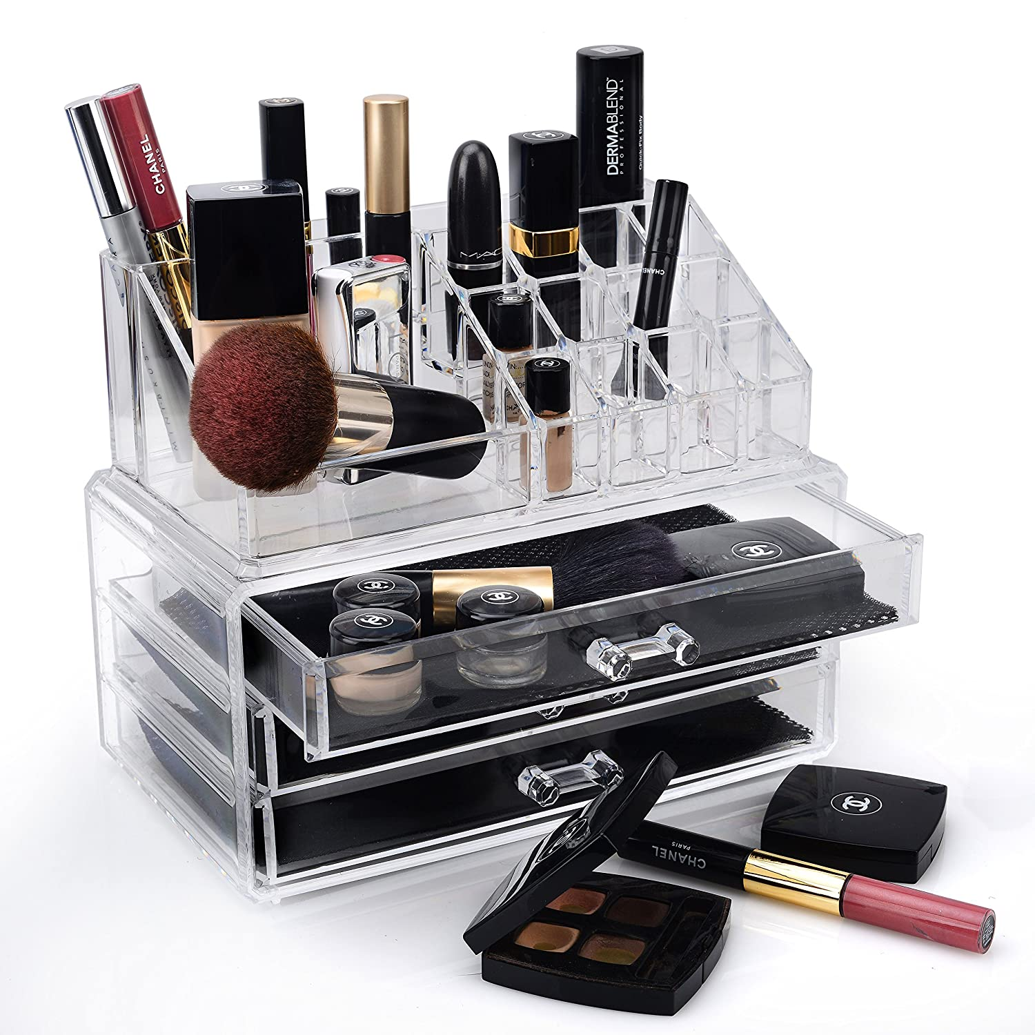 Design Cosmetic Organizer amazon com home it clear acrylic jewelry organizer and makeup cosmetic large 2 drawer chest or make