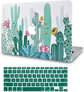 """KECC Laptop Case for MacBook Pro 13"""" (2020/2019/2018/2017/2016) w/Keyboard Cover Plastic Hard Shell A2159/A1989/A1706/A1708 Touch Bar 2 in 1 Bundle (Cactus 3)"""