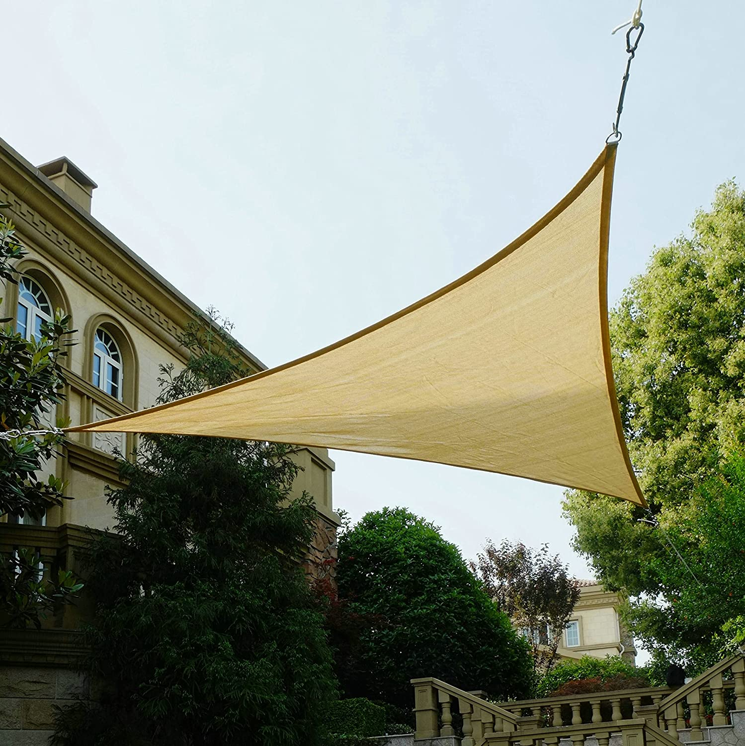 Quictent 18 x 18 x 18 FT 185G HDPE Triangle Sun Shade Sail Canopy 98 UV Block Top Outdoor Cover Patio Garden Sand