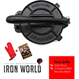Tortilla Press Pre seasoned by Iron World - Cast Iron Pataconera Press Seasoned 8 inch Heavy