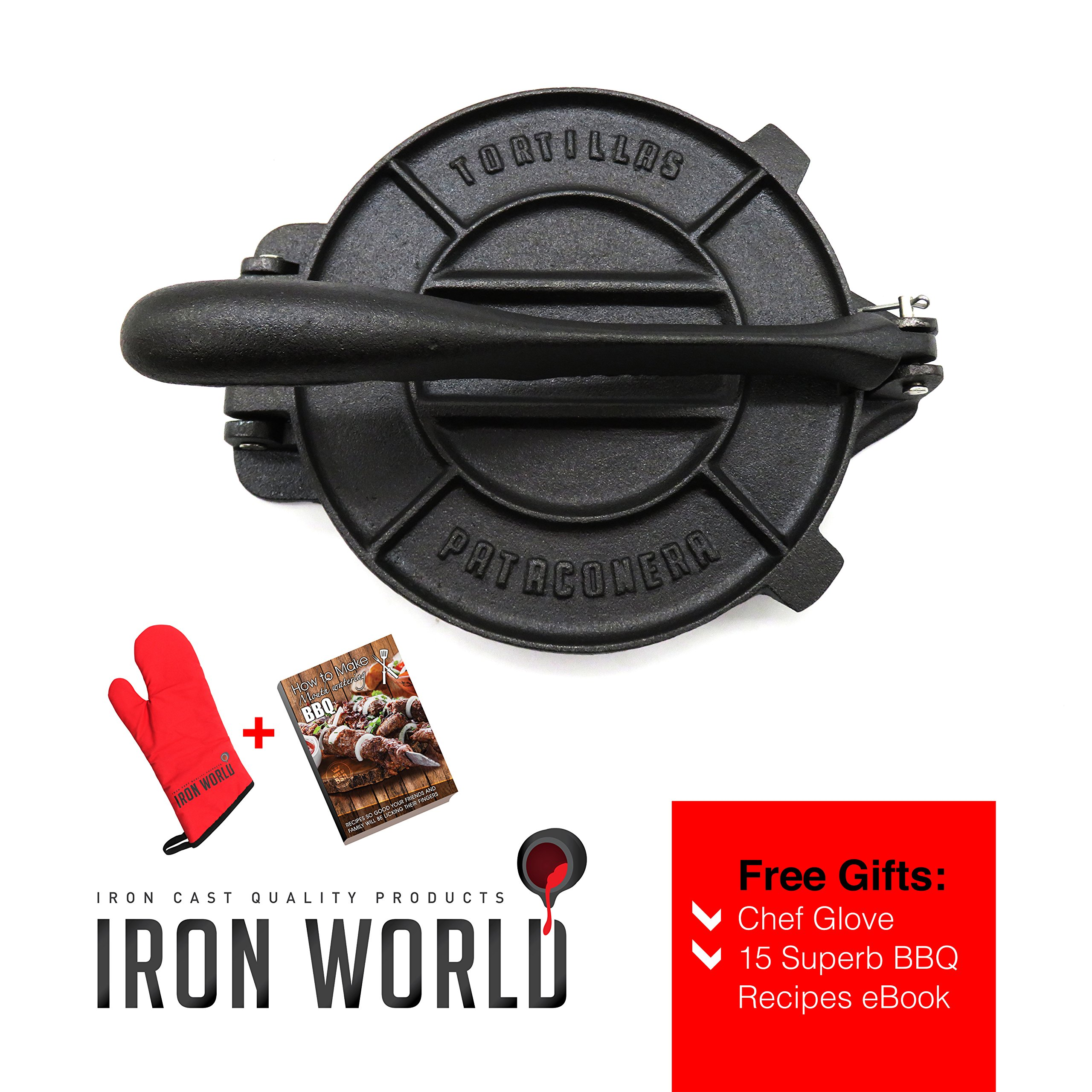 Iron World Tortilla Press Pre-seasoned - Cast Iron Tortilla Pataconera Roti Flatbread Pita Press. Seasoned 8 inch Heavy Gauge. Non Stick Corn Flour Iron Cast Press