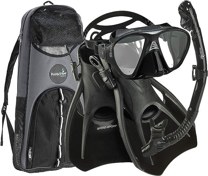 Adjustable Strap Snorkel Fin Phantom Aquatics Italian Design Tempered Glass Lens Frameless Scuba Snorkeling Mask Mask Fin Snorkel Set