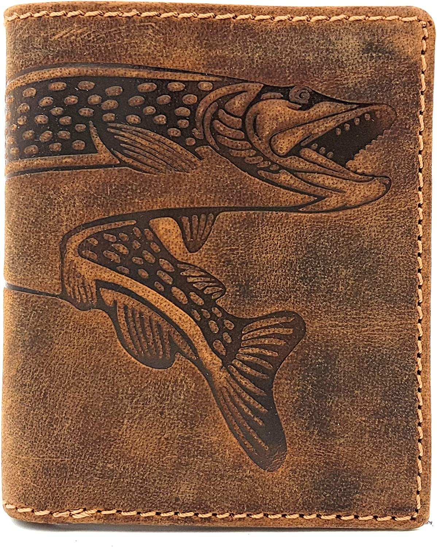 Cartera de cuero Alto Hunter piel cartera de pesca pescado Hecht