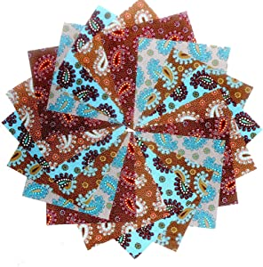 "40 5"" Beautiful Blue/Brown Poppin Paisley Charm Pack"