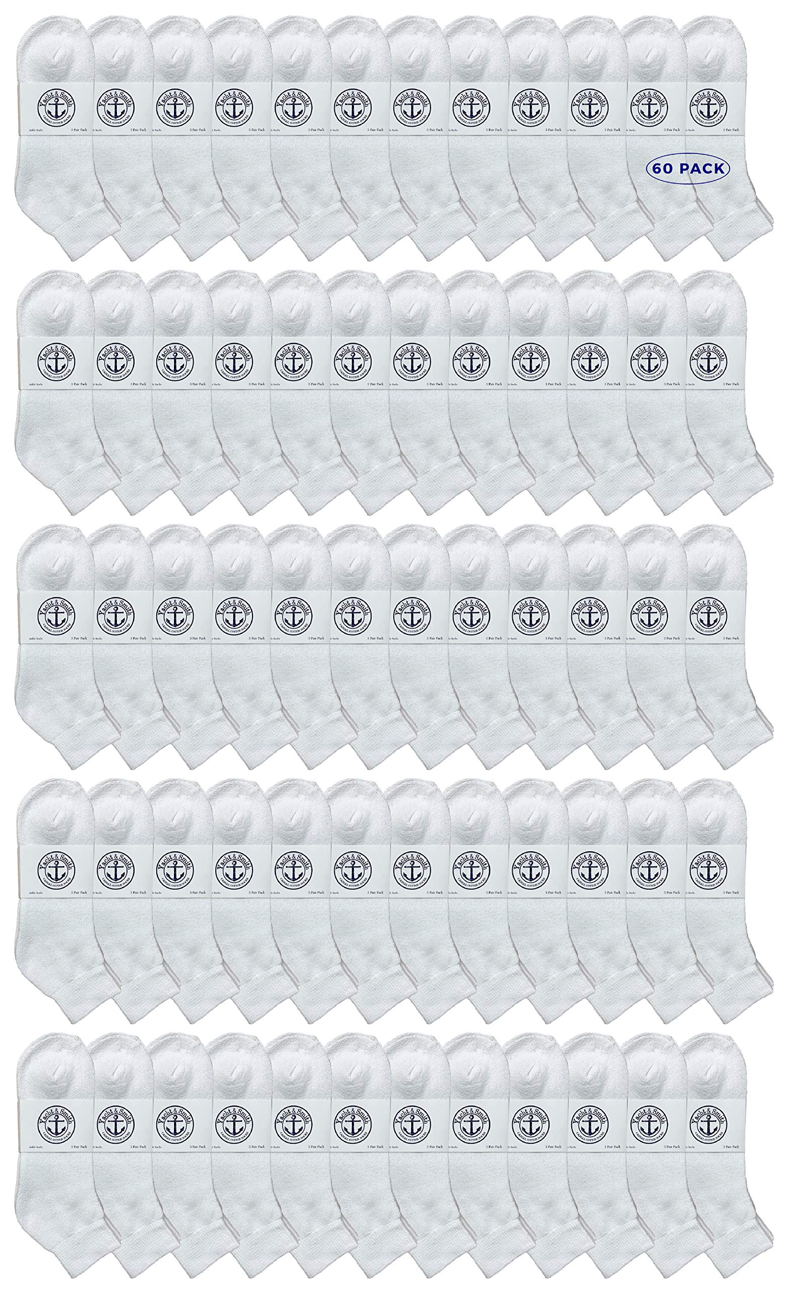 Yacht & Smith Wholeasle Kids Mid Ankle Socks, Cotton Bulk Sport Ankle Socks - 6-8 - White - 60 Packs by YACHT & SMITH