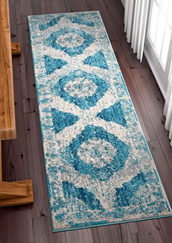 Well Woven Lenox Blue Vintage Persian Medallion Modern Traditional Oriental Casual 3×12 2'7″ x 12' Runner Area Rug Thick Soft Plush Shed Free