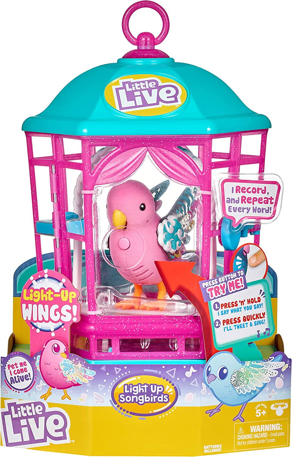 Little Live Pets Bird with Cage - Rainbow Glow - Styles May Vary