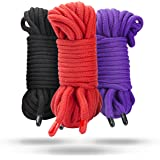 All Purpose Soft Cotton Rope | Black, Red & Purple | 3- pack 32 feet/10m each - 96 feet