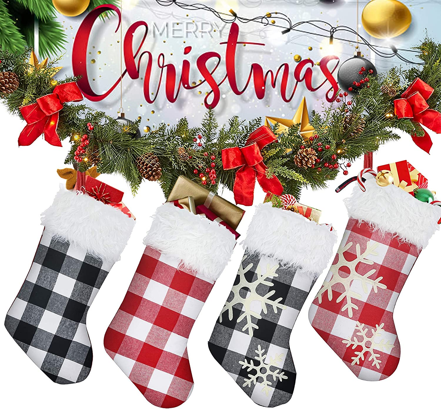 """CHIN FAI 18"""" Buffalo Plaid Christmas Stockings 4 Pack with Faux Fur Cuff Fireplace Hanging Stockings for Family Holiday Xmas Party (Black White, Red White)"""
