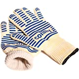 Coililly Heat Resistant Cooking Gloves Up to 932°F EN407 Certified - Oven Kitchen Mitts set of 2 For Holding Pots, BBQ, Grill,Baking & More- Non-Slip Grip- Lightweight & Comfy- Premium BBQ Accessories