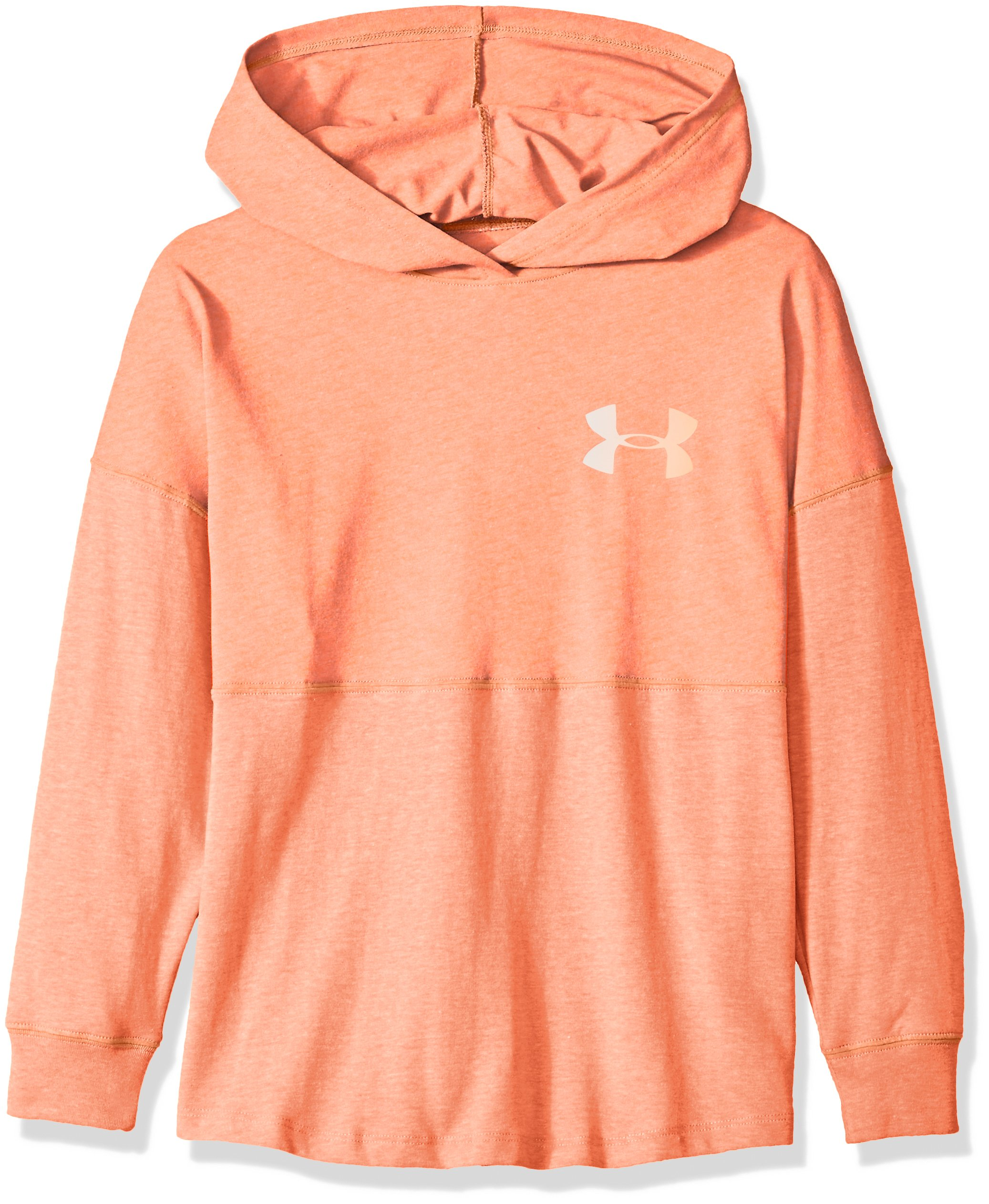 Under Armour Girls' Finale Hoodie, After Burn Light Hea (877)/Peach Horizon, Youth Medium by Under Armour